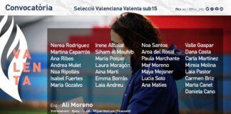 Convocatoria Selecció Valenta sub15 8 de juniol